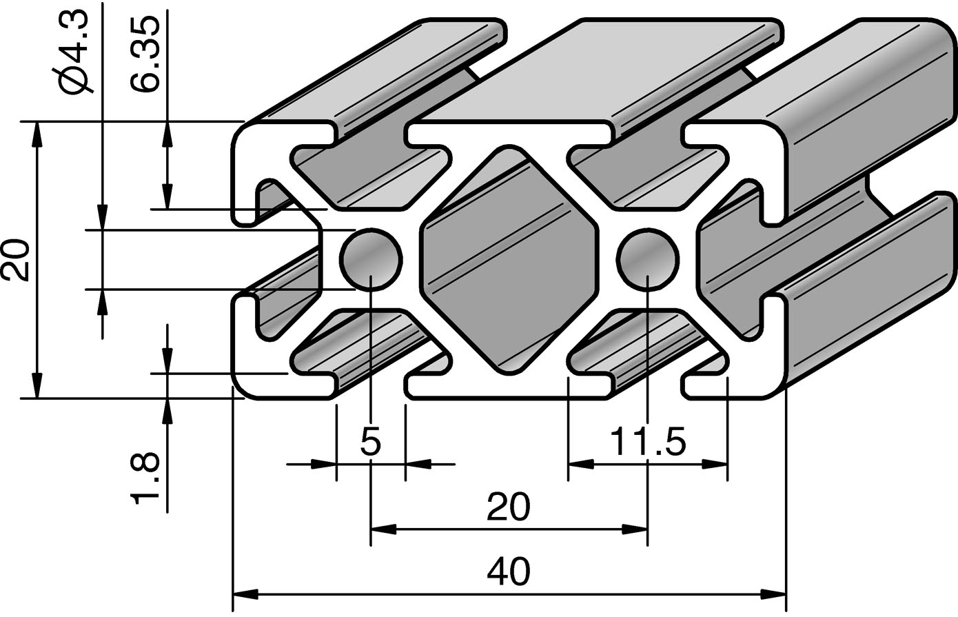 profil 5 40x20 alv ris pro le systems. Black Bedroom Furniture Sets. Home Design Ideas