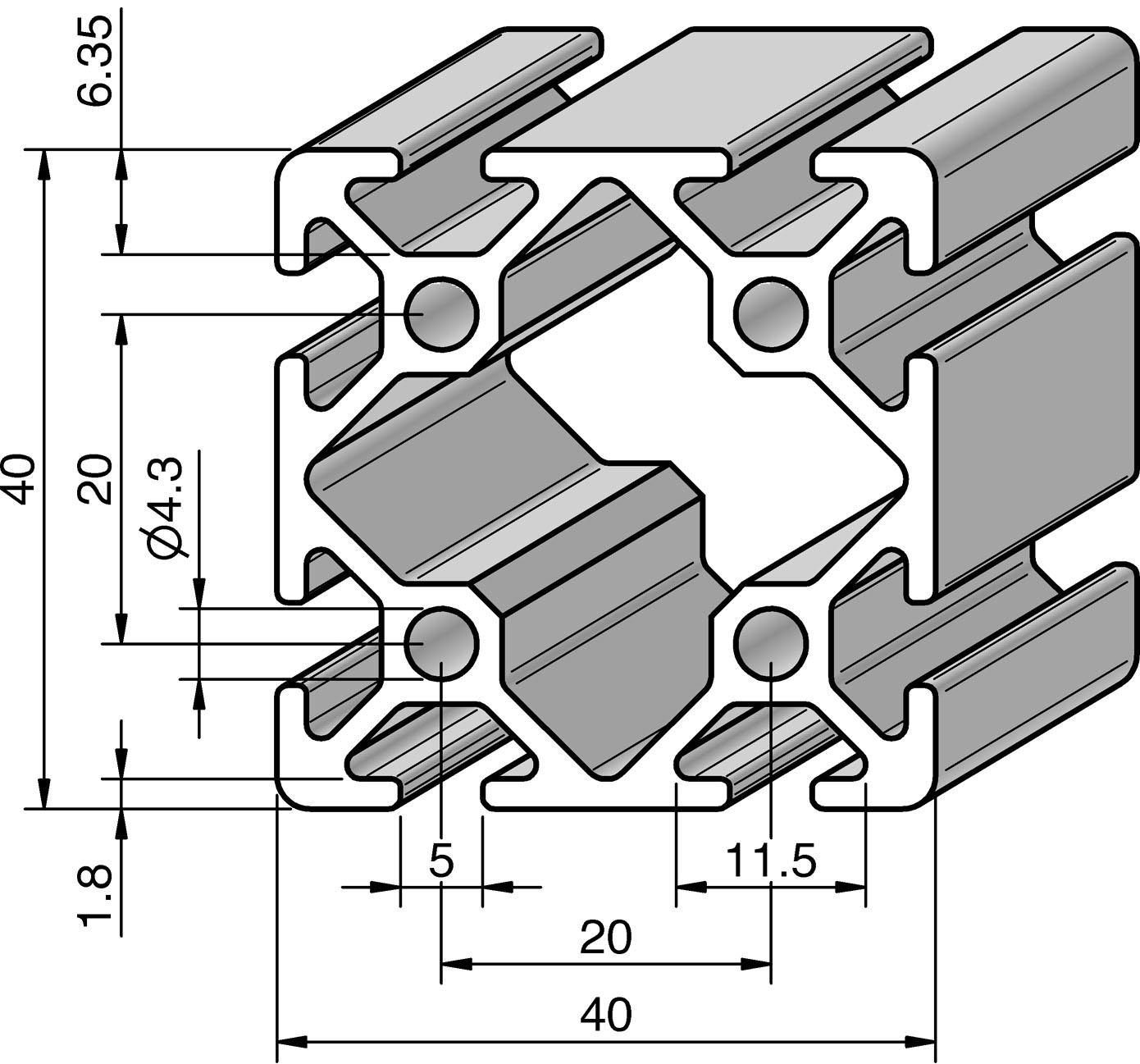 profil 5 40x40 alv ris pro le systems. Black Bedroom Furniture Sets. Home Design Ideas