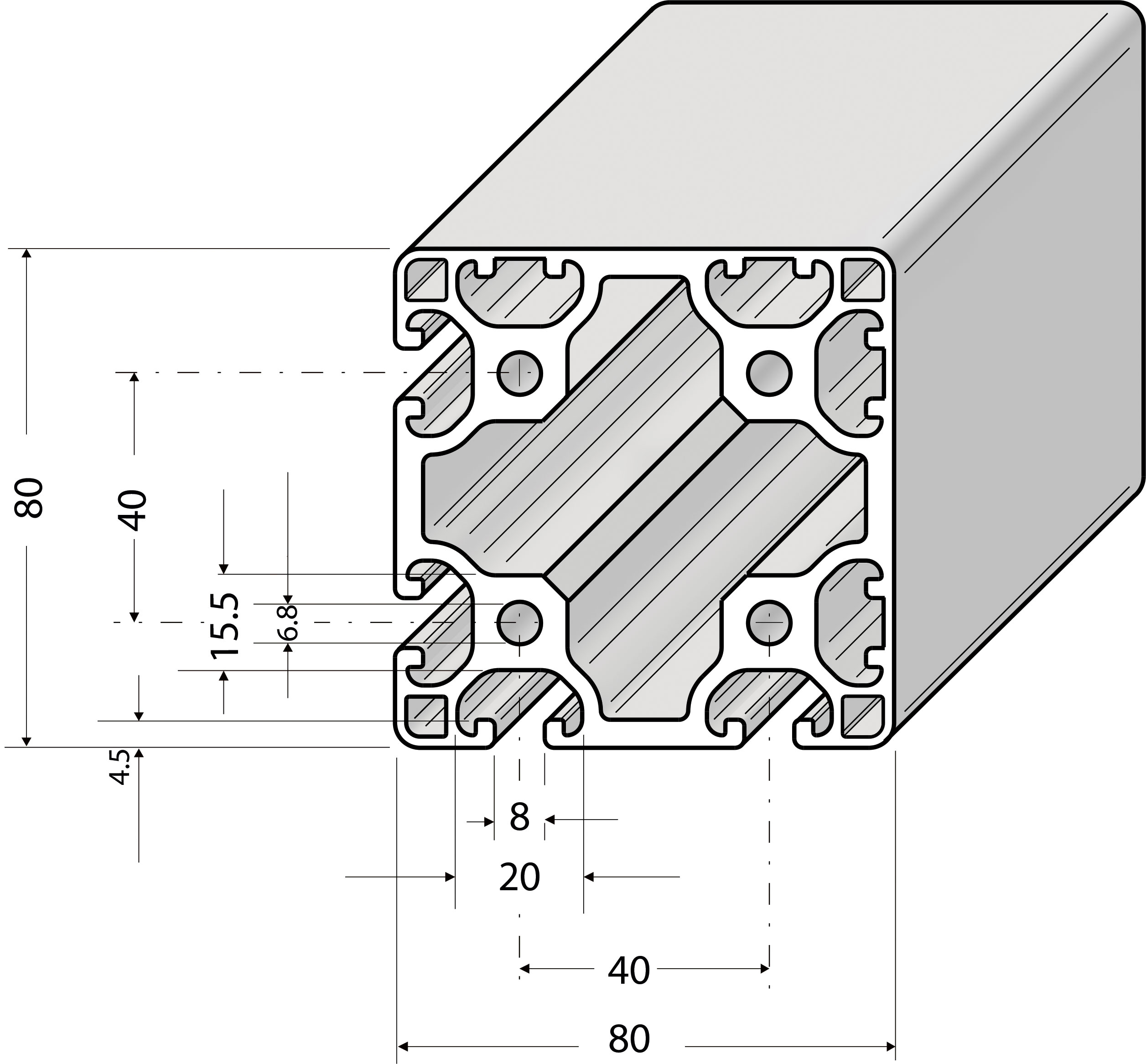 profil 80x80l 4n 90 alv ris pro le systems. Black Bedroom Furniture Sets. Home Design Ideas