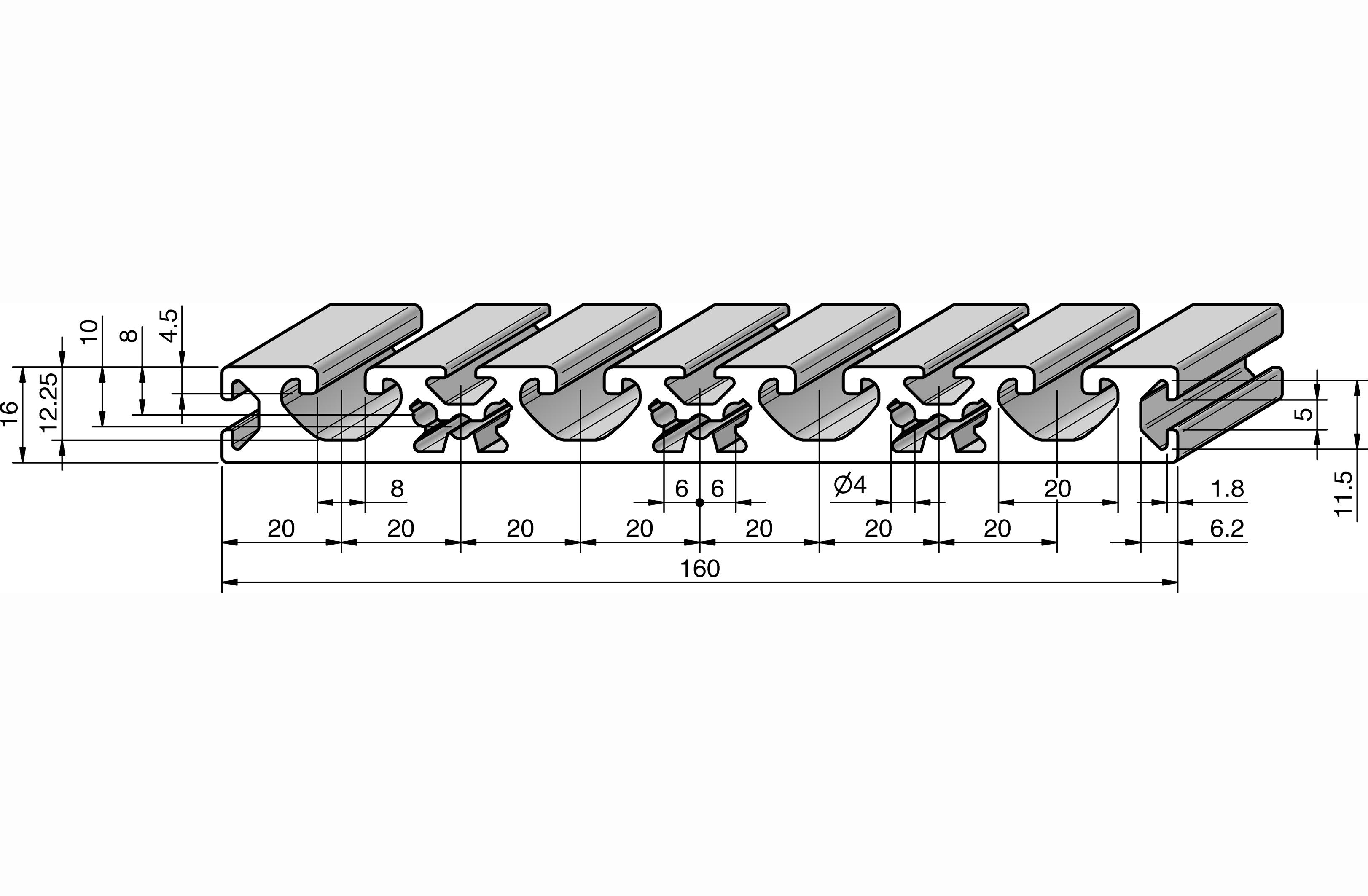 profil 160x16 alv ris pro le systems. Black Bedroom Furniture Sets. Home Design Ideas