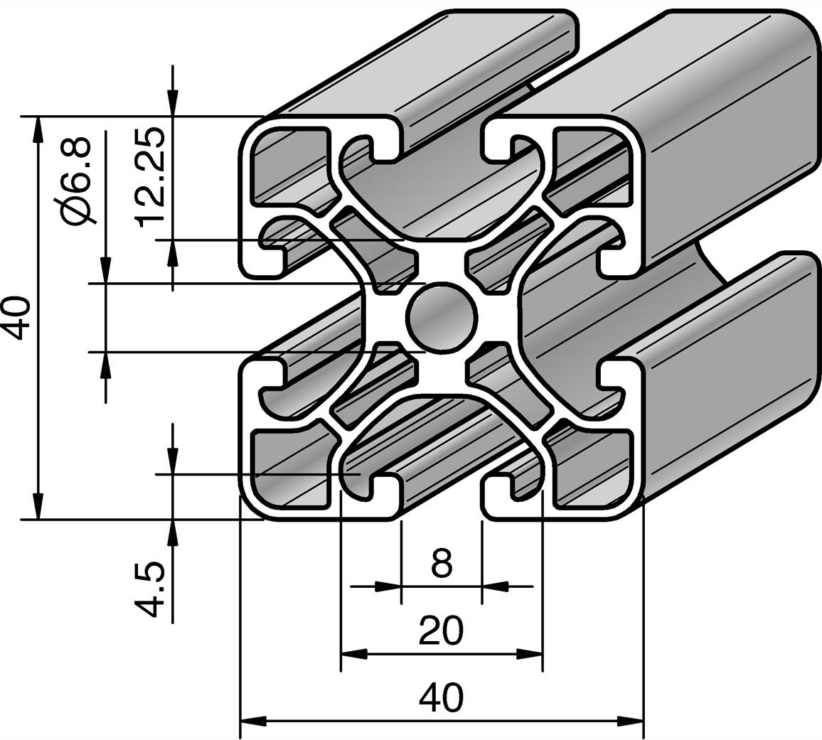 profil 40x40e alv ris pro le systems. Black Bedroom Furniture Sets. Home Design Ideas