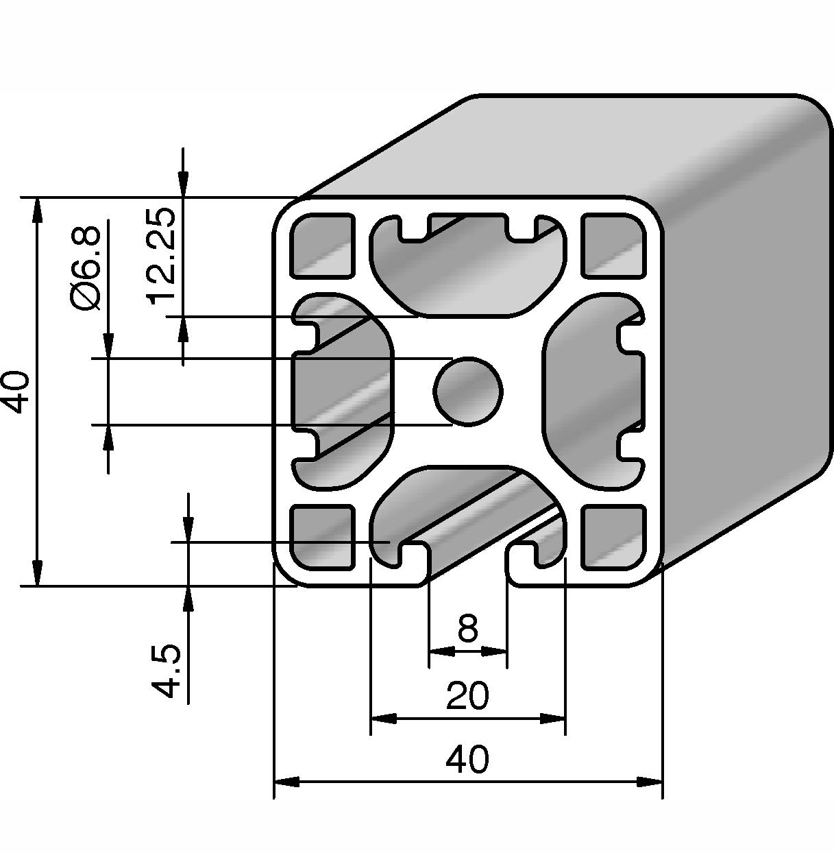 profil 40x40l 3n alv ris pro le systems. Black Bedroom Furniture Sets. Home Design Ideas