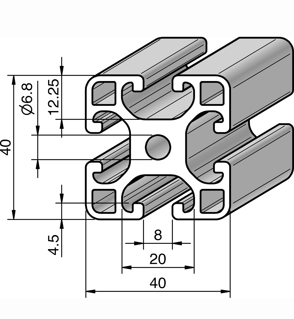 profil 40x40l alv ris pro le systems. Black Bedroom Furniture Sets. Home Design Ideas