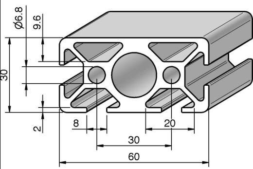 profil 8 60x30 2n alv ris pro le systems. Black Bedroom Furniture Sets. Home Design Ideas