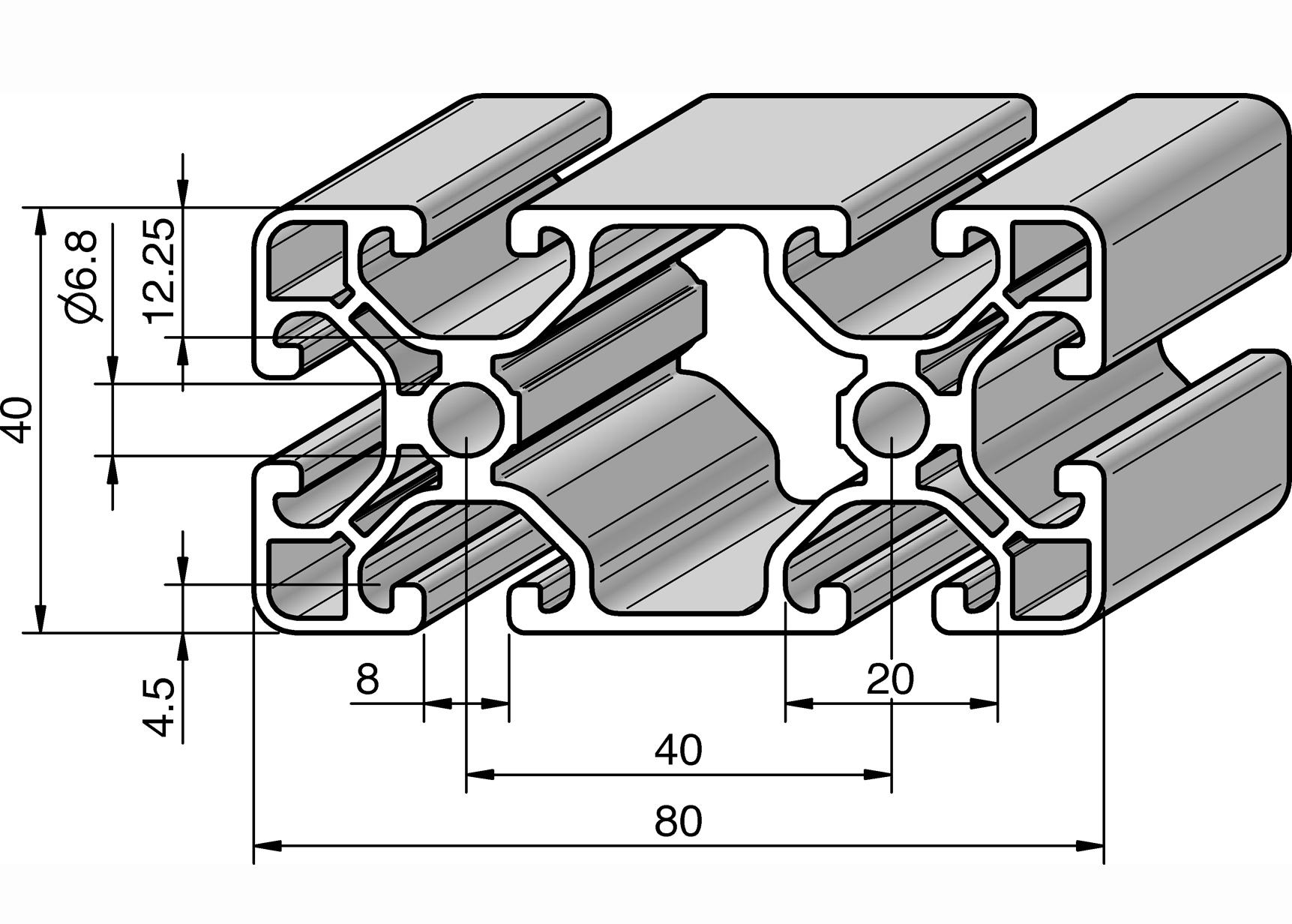 profil 80x40e alv ris pro le systems. Black Bedroom Furniture Sets. Home Design Ideas