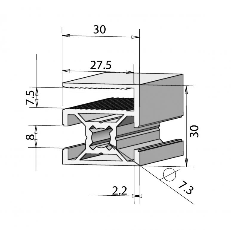 profil 30x30 end alv ris pro le systems. Black Bedroom Furniture Sets. Home Design Ideas