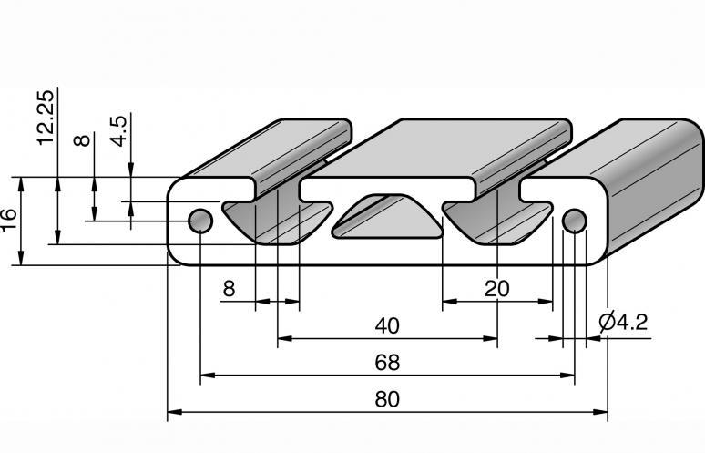 profil 80x16 alv ris pro le systems. Black Bedroom Furniture Sets. Home Design Ideas