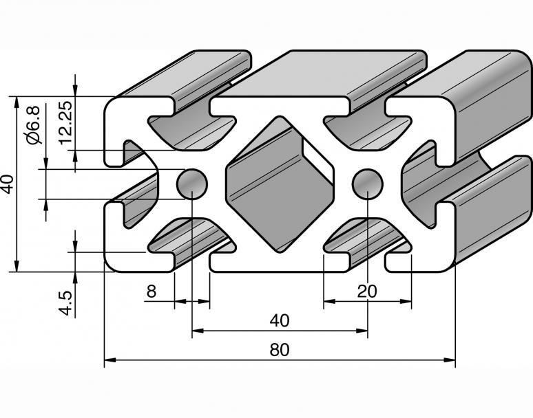 profil 80x40 alv ris pro le systems. Black Bedroom Furniture Sets. Home Design Ideas
