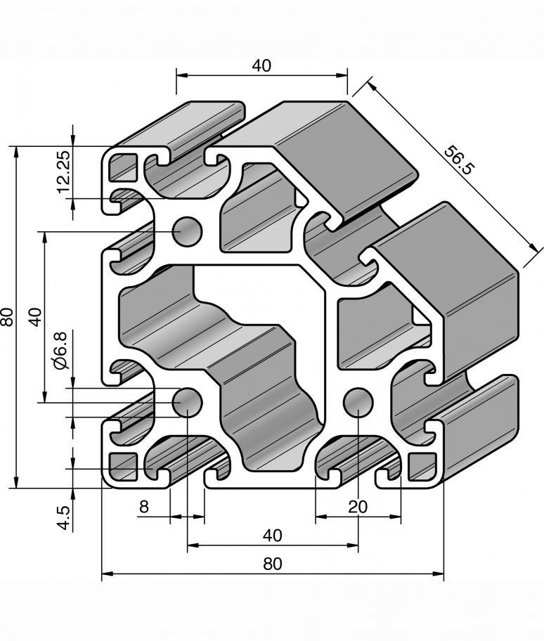 profil 80x80l 45 alv ris pro le systems. Black Bedroom Furniture Sets. Home Design Ideas
